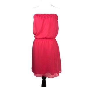 EXPRESS PINK SHEER LINED STRAPLESS DRESS